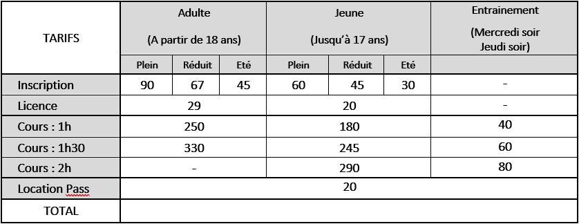 Tarifs 2019-2020